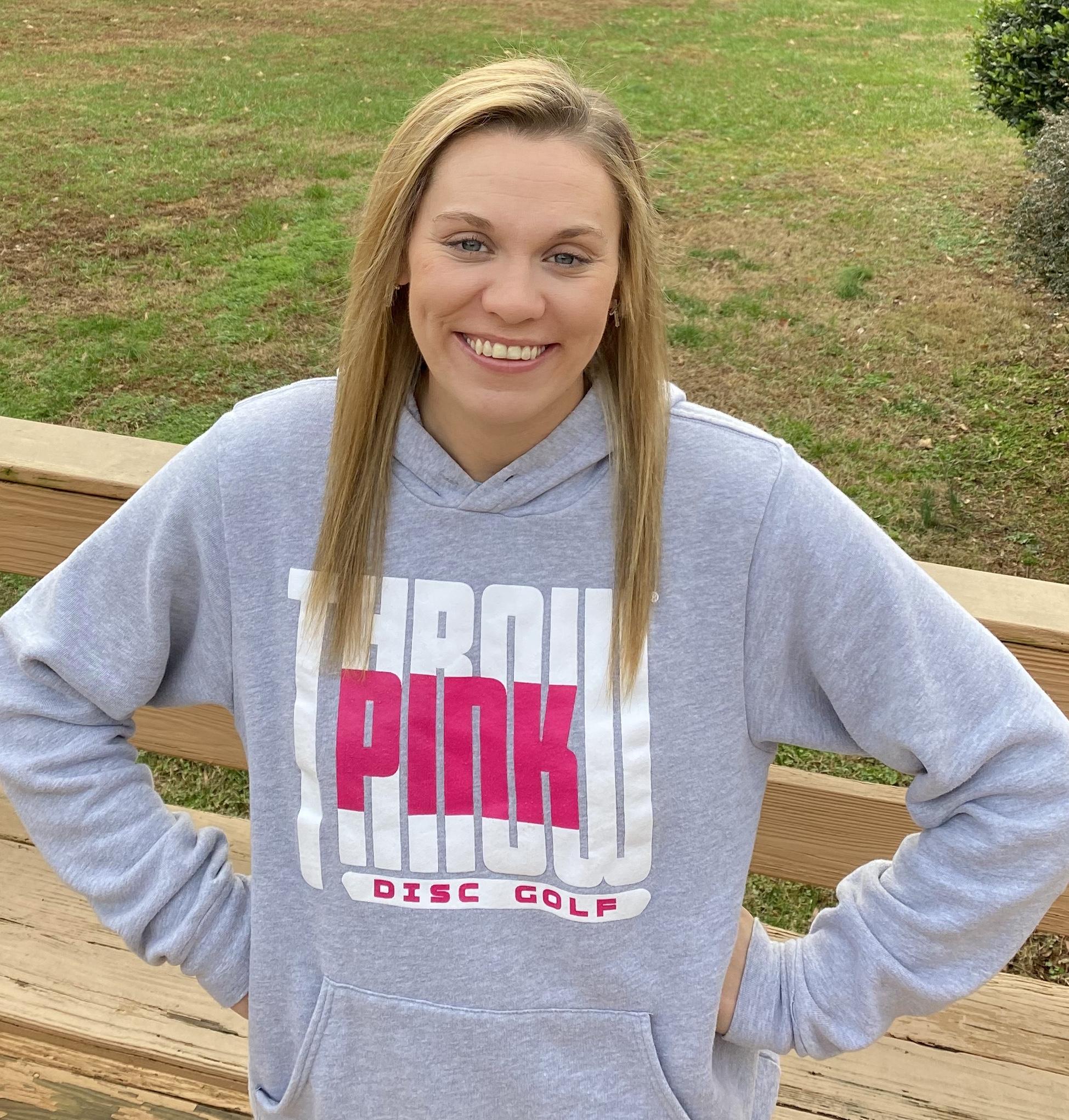 Katie Hudgens wearing Throw Pink sweatshirt