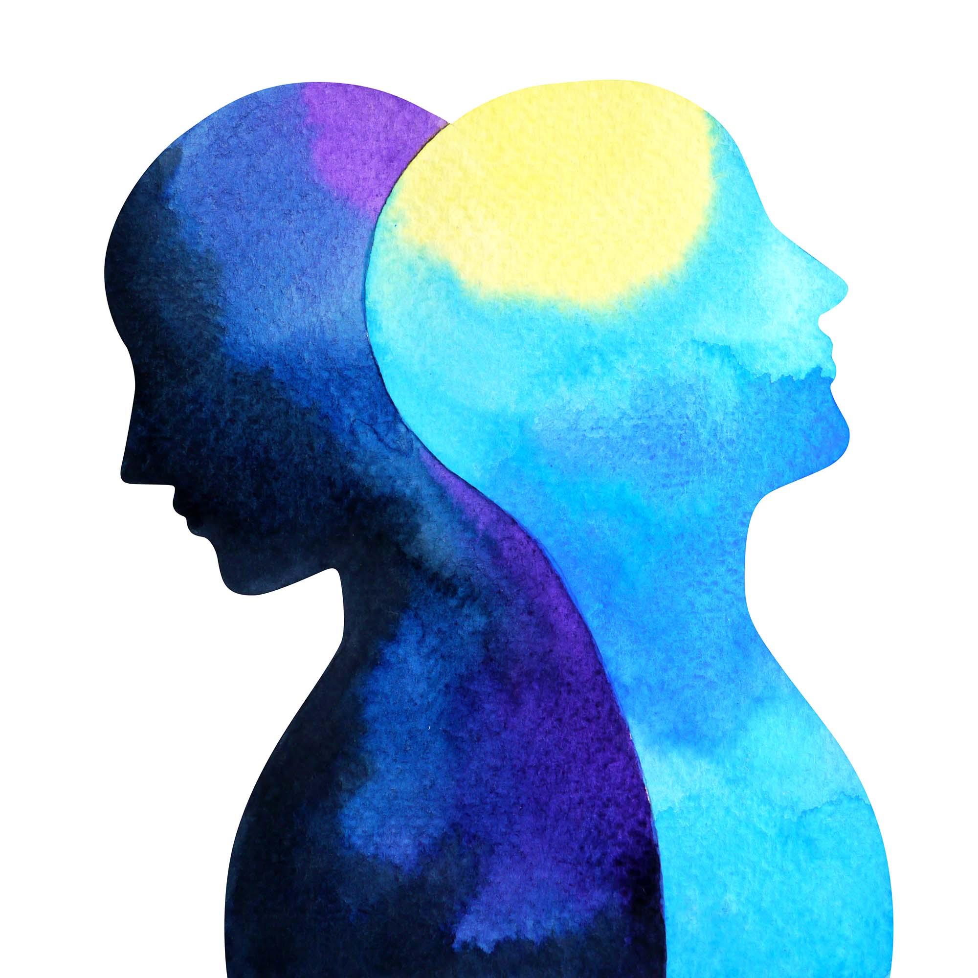 Watercolor painting depicting Bipolar Disorder
