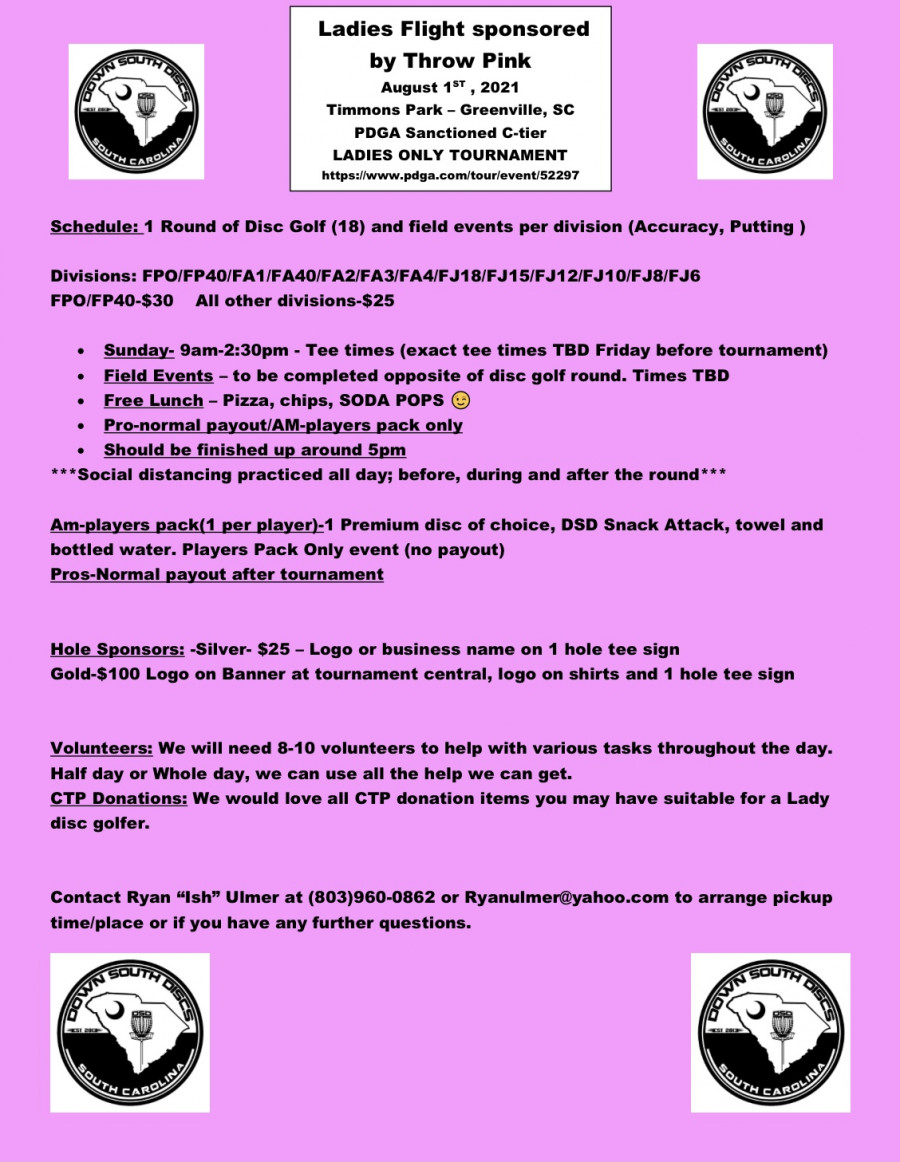 Ladies Flight sponsored by Throw Pink - Greenville SC event