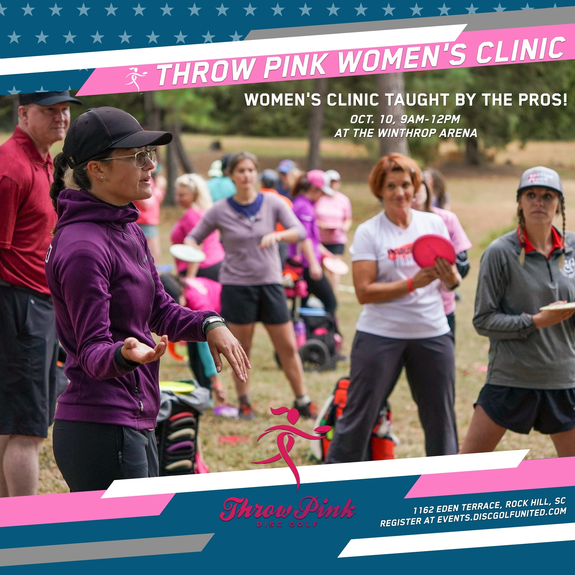 The flyer for the Throw Pink Clinic at the Championship 2021.